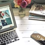 laptop and phone of blogger