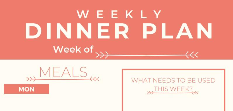 weekly dinner planning printable